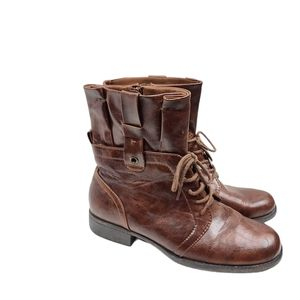 Kim Rogers Harlo Brown Lace Up Combat Boots 9M